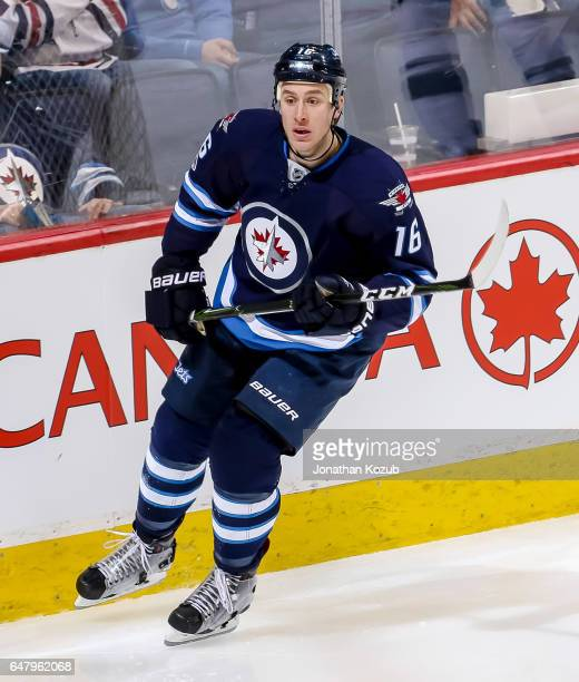 Shawn Matthias of the Winnipeg Jets keeps an eye on the play during third period action against the Minnesota Wild at the MTS Centre on February 28...
