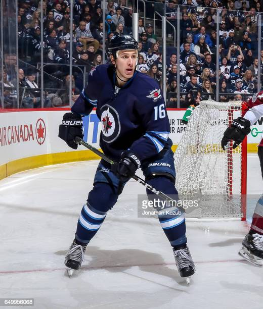 Shawn Matthias of the Winnipeg Jets keeps an eye on the play during second period action against the Colorado Avalanche at the MTS Centre on March 4...