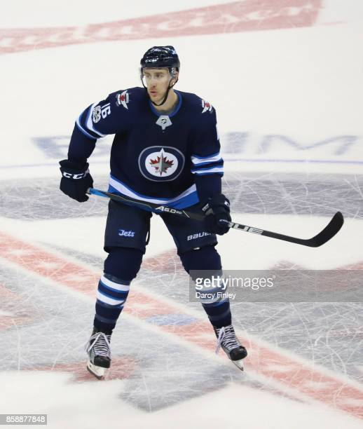 Shawn Matthias of the Winnipeg Jets keeps an eye on the play during third period action against the Toronto Maple Leafs at the Bell MTS Place on...