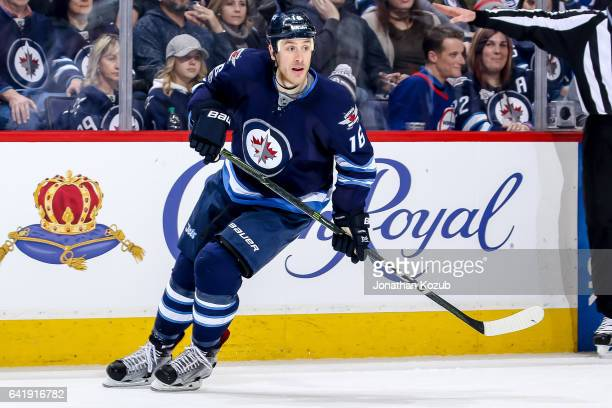 Shawn Matthias of the Winnipeg Jets looks on during second period action against the Tampa Bay Lightning at the MTS Centre on February 11 2017 in...
