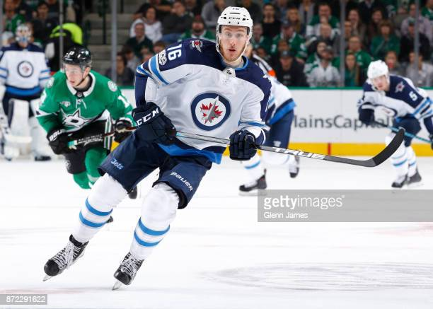 Shawn Matthias of the Winnipeg Jets skates against the Dallas Stars at the American Airlines Center on November 6 2017 in Dallas Texas