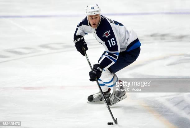 Shawn Matthias of the Winnipeg Jets skates against the Nashville Predators during an NHL game at Bridgestone Arena on March 13 2017 in Nashville...