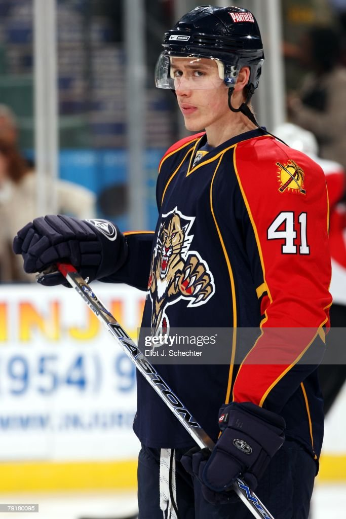 Shawn Matthias #41of the Florida Panthers skates on ice prior to the start of the game against the Ottawa Senators at the Bank Atlantic Center on January 22, 2008 in Sunrise, Florida.