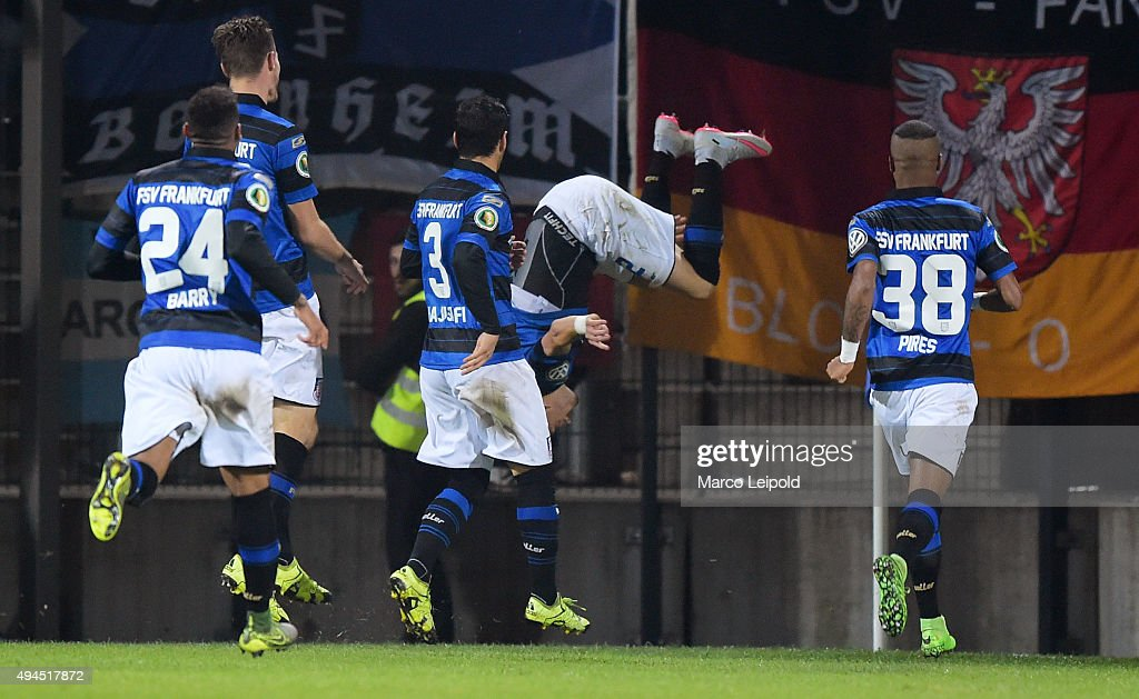 Shawn Maurice Barry, Florian Ballas, Ehsan Haji Safi,Timm Golley and Felipe Pires of FSV Frankfurt celebrate after scoring the 1:0 during the game between dem FSV Frankfurt and Hertha BSC on october 27, 2015 in Frankfurt on Main, Germany.