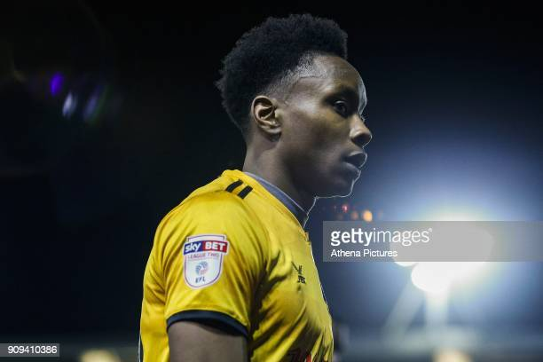 Shawn McCoulsky of Newport County after the final whistle of the Sky Bet League Two match between Newport County and Morcambe at Rodney Parade on...