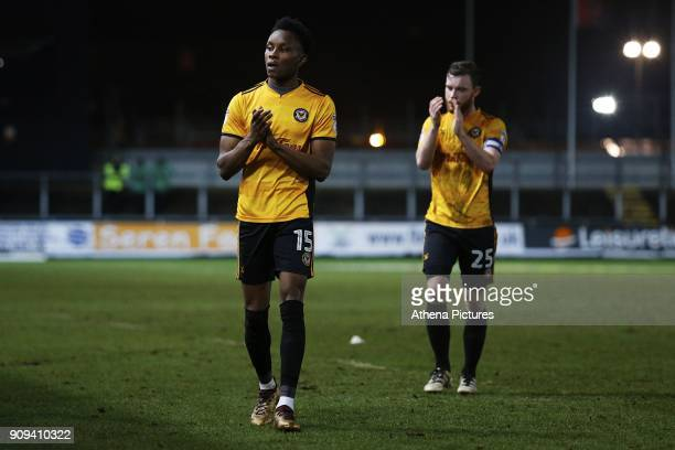 Shawn McCoulsky of Newport County and Mark O'Brien after the final whistle of the Sky Bet League Two match between Newport County and Morcambe at...