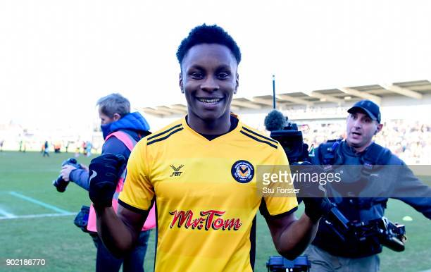 Shawn McCoulsky of Newport County celebrates his side's victory following The Emirates FA Cup Third Round match between Newport County and Leeds...