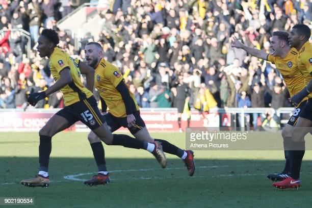 Shawn McCoulsky of Newport County celebrates scoring his sides second goal of the match during the Fly Emirates FA Cup Third Round match between...