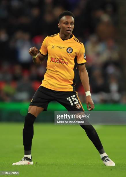 Shawn McCoulsky of Newport County during the FA Cup Fourth Round replay between Tottenham Hotspur and Newport County at Wembley Stadium on February 7...
