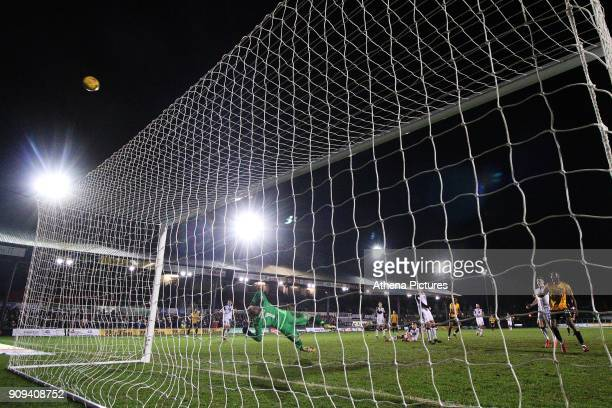 Shawn McCoulsky of Newport County fires a shot over the goal during the Sky Bet League Two match between Newport County and Morcambe at Rodney Parade...