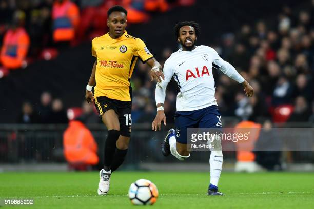 Shawn McCoulsky of Newport County gets away from Tottenham Hotspur's Danny Rose during the FA Cup Fourth Round replay match between Tottenham Hotspur...
