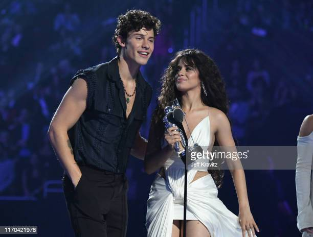 Shawn Mendes and Camila Cabello accept the Best Collaboration award onstage during the 2019 MTV Video Music Awards at Prudential Center on August 26...