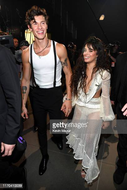 Shawn Mendes and Camila Cabello backstage during the 2019 MTV Video Music Awards at Prudential Center on August 26 2019 in Newark New Jersey