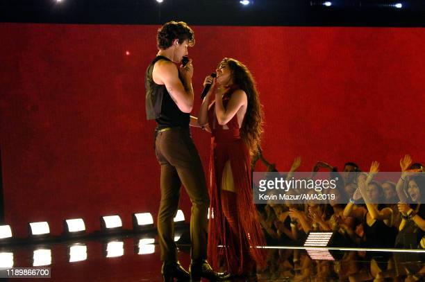Shawn Mendes and Camila Cabello perform onstage during the 2019 American Music Awards at Microsoft Theater on November 24 2019 in Los Angeles...