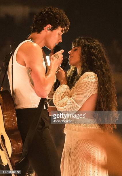 Shawn Mendes and Camila Cabello perform onstage during the 2019 MTV Video Music Awards at Prudential Center on August 26 2019 in Newark New Jersey