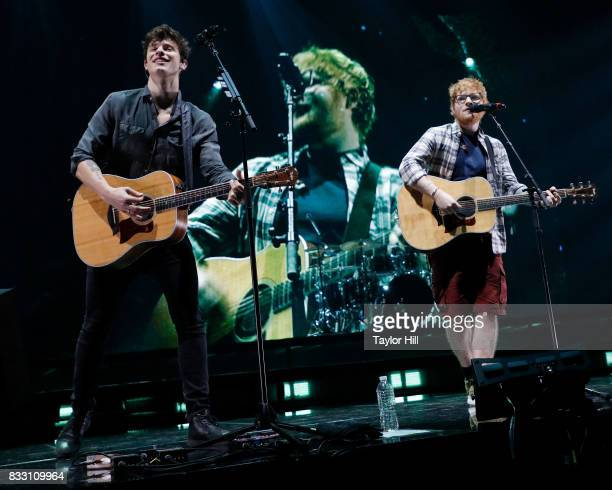 Shawn Mendes and Ed Sheeran perform 'Mercy' during the Illuminate tour at Barclays Center on August 16 2017 in the Brooklyn borough of New York City