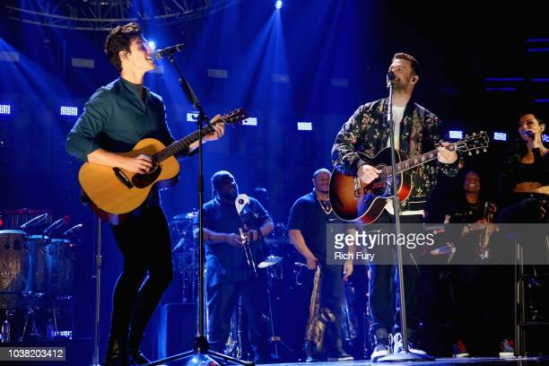 Shawn Mendes and Justin Timberlake perform onstage during the 2018 iHeartRadio Music Festival at TMobile Arena on September 22 2018 in Las Vegas...