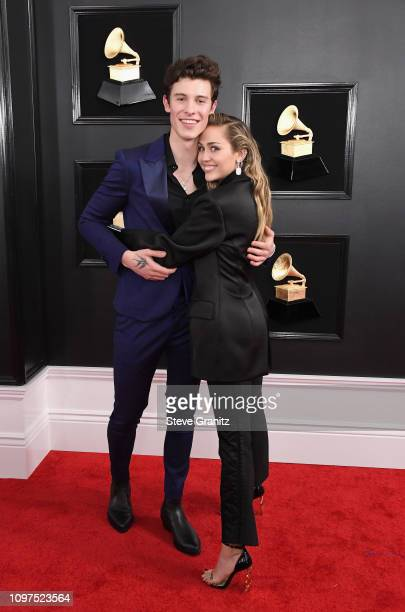 Shawn Mendes and Miley Cyrus attend the 61st Annual GRAMMY Awards at Staples Center on February 10 2019 in Los Angeles California