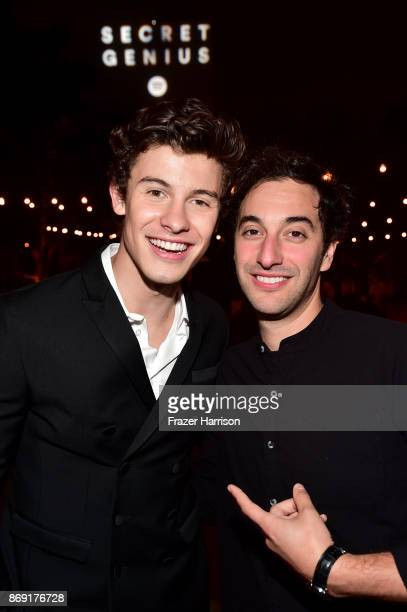 Shawn Mendes and Scott Harris attend Spotify's Inaugural Secret Genius Awards hosted by Lizzo at Vibiana on November 1 2017 in Los Angeles California
