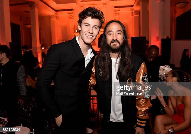 Shawn Mendes and Steve Aoki attend Spotify's Inaugural Secret Genius Awards hosted by Lizzo at Vibiana on November 1 2017 in Los Angeles California
