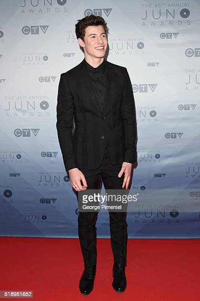 Shawn Mendes arrives at the 2016 Juno Awards at Scotiabank Saddledome on April 3 2016 in Calgary Canada