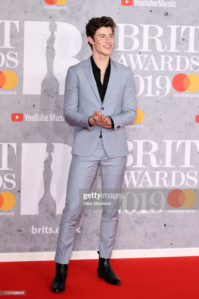 9881ba93d66a0 Shawn Mendes attends The BRIT Awards 2019 held at The O2 Arena on ...