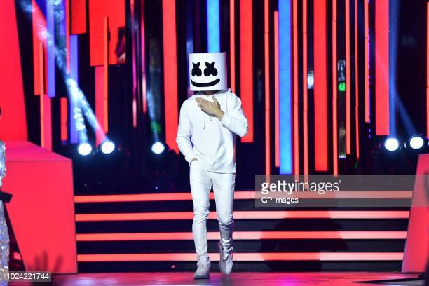 Shawn Mendes dressed as Marshmello at the 2018 iHeartRADIO MuchMusic Video Awards at MuchMusic HQ on August 26 2018 in Toronto Canada