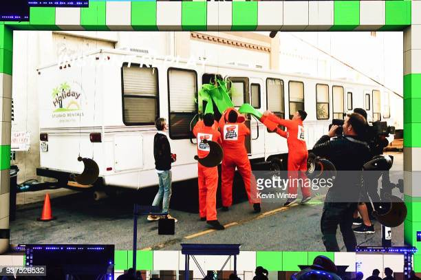 Shawn Mendes gets slimed offsite for Nickelodeon's 2018 Kids' Choice Awards at The Forum on March 24 2018 in Inglewood California