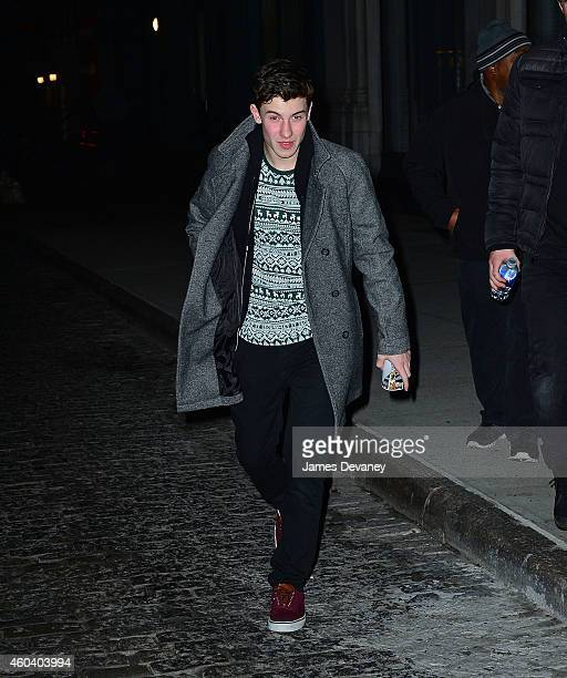 Shawn Mendes leaves Taylor Swift's 25th birthday party at her Tribeca apartment on December 12 2014 in New York City
