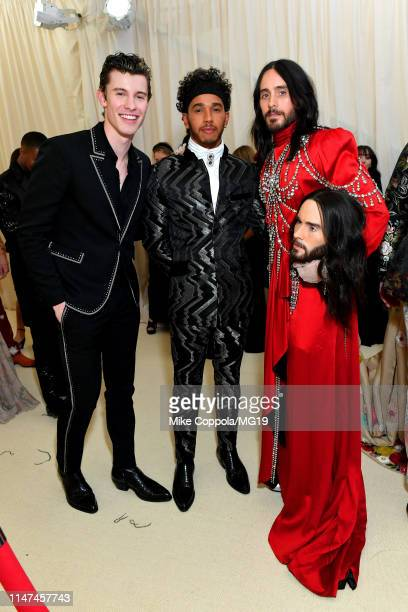 Shawn Mendes Lewis Hamilton and Jared Leto attends The 2019 Met Gala Celebrating Camp Notes on Fashion at Metropolitan Museum of Art on May 06 2019...