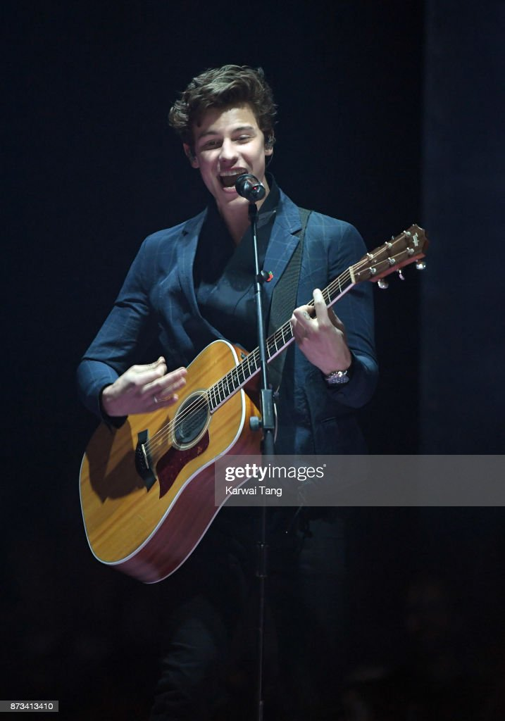 Shawn Mendes on stage during the MTV EMAs 2017 held at The SSE Arena, Wembley on November 12, 2017 in London, England.