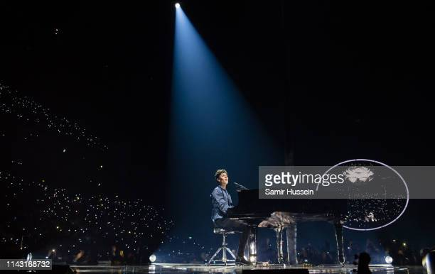 Shawn Mendes peforms on stage at The O2 Arena on April 16 2019 in London England