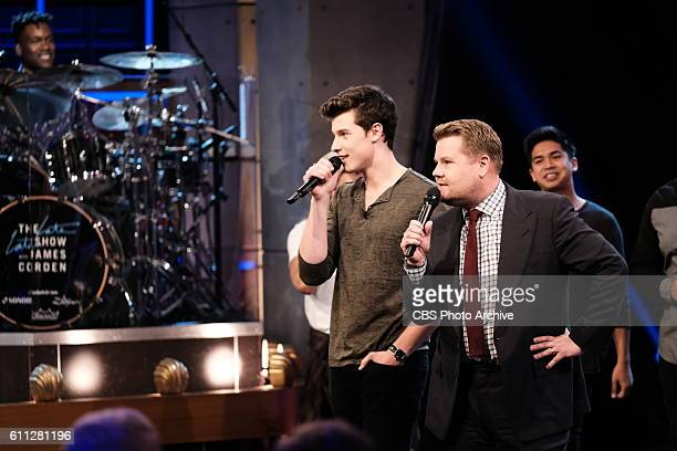 Shawn Mendes performing with James Corden during The Late Late Show with James Corden Wednesday Sept 28 On The CBS Television Network