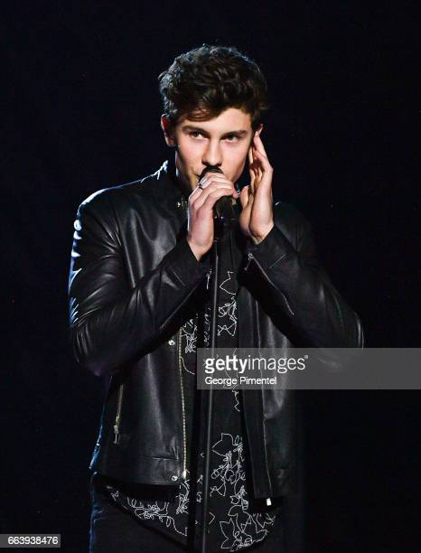 Shawn Mendes performs at 2017 Junos Awards at Canadian Tire Centre on April 2 2017 in Ottawa Canada