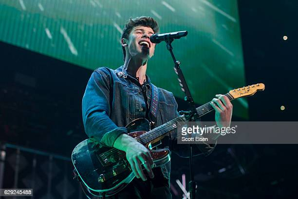 Shawn Mendes performs at TD Banknorth Garden during the KISS 108 iHeartRadio Jingle Ball presented by Capital One on December 11 2016 in Boston...