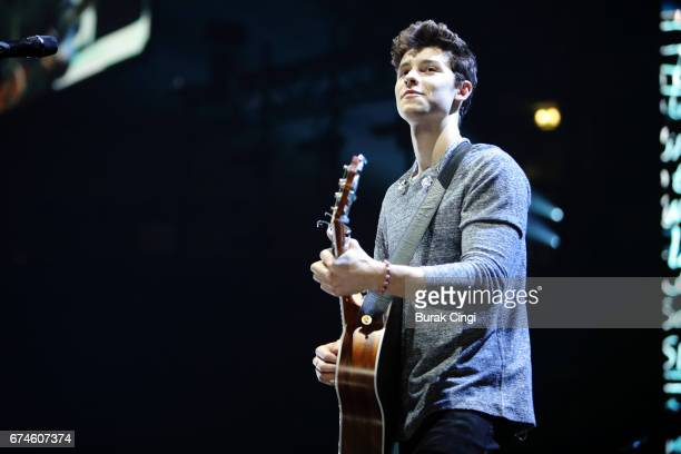 Shawn Mendes performs at Manchester Arena on April 28 2017 in Manchester England