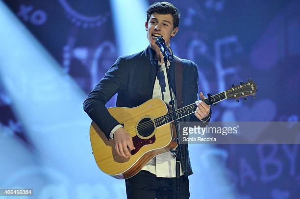 Shawn Mendes performs at the 2015 JUNO Awards at FirstOntario Centre on March 15 2015 in Hamilton Canada