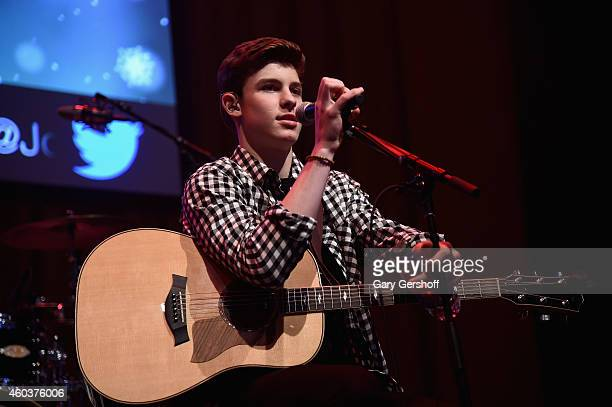 Shawn Mendes performs at Z100 CocaCola All Access Lounge at Z100's Jingle Ball 2014 preshow at Hammerstein Ballroom on December 12 2014 in New York...