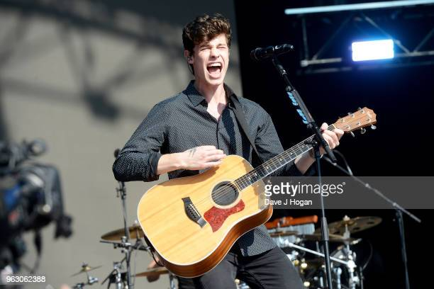 Shawn Mendes performs during day 2 of BBC Radio 1's Biggest Weekend 2018 held at Singleton Park on May 27 2018 in Swansea Wales