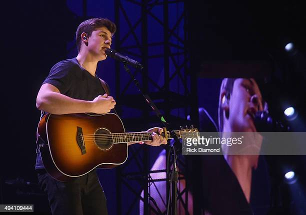 Shawn Mendes performs during Taylor Swift's 'The 1989 World tour' at the Sold Out Georgia Dome on October 24 2015 in Atlanta Georgia