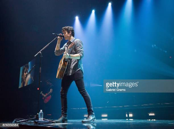 Shawn Mendes performs during the Illuminate World Tour at Allstate Arena on August 3 2017 in Chicago Illinois