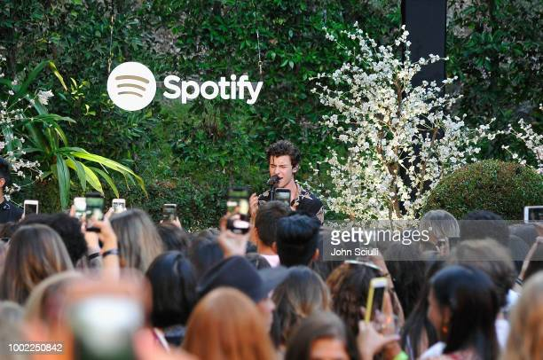 Shawn Mendes performs for his biggest fans from Spotify at a special event in a private garden in Beverly Hills to celebrate his self titled album...