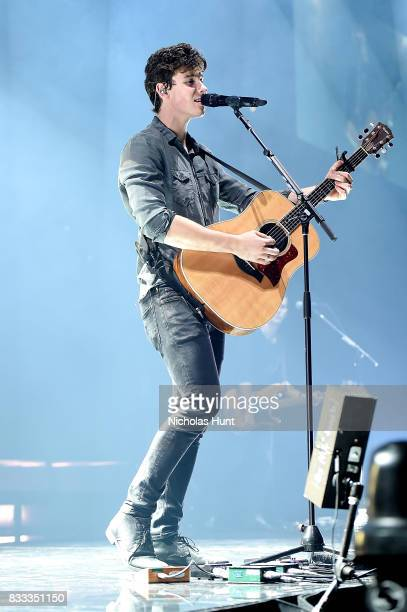 Shawn Mendes performs in concert at Barclays Center of Brooklyn on August 16 2017 in the Brooklyn borough of New York City