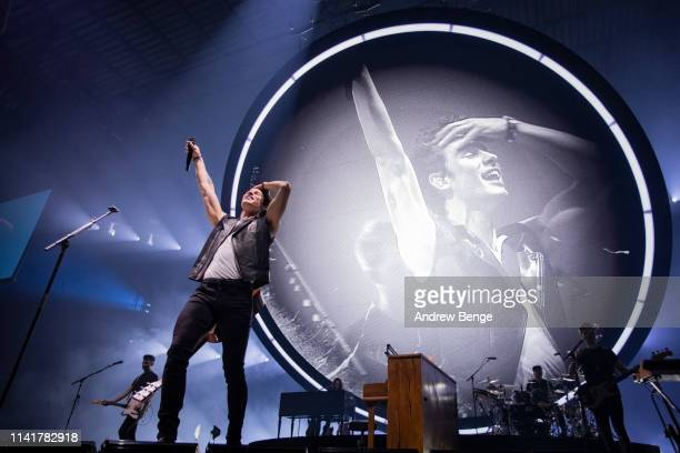 Shawn Mendes performs on stage at First Direct Arena on April 10, 2019 in Leeds, England.