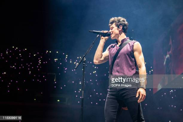 Shawn Mendes performs on stage at Pala Alpitour in Turin.