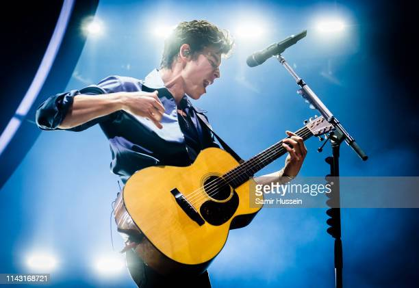 Shawn Mendes performs on stage at The O2 Arena on April 16 2019 in London England
