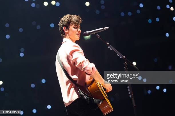 Shawn Mendes performs on stage at The SSE Hydro on April 6, 2019 in Glasgow, Scotland.