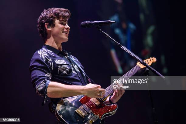 Shawn Mendes performs on stage during the Illuminate World Tour at the Air Canada Centre on August 11 2017 in Toronto Canada