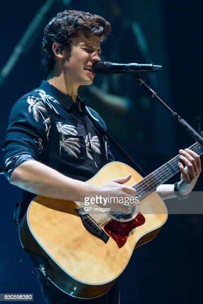 Shawn Mendes performs on stage during the 'Illuminate World Tour' at the Air Canada Centre on August 11 2017 in Toronto Canada