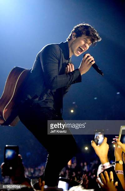 Shawn Mendes performs on stage during the MTV EMAs 2017 held at The SSE Arena Wembley on November 12 2017 in London England